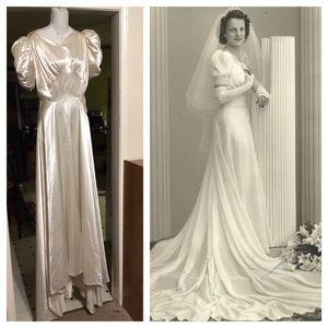 1930s ivory satin wedding dress